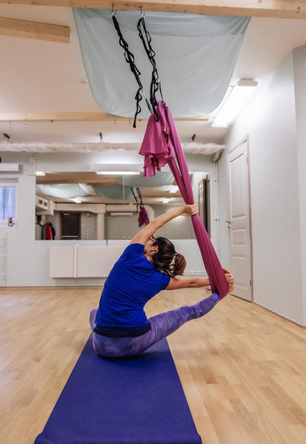 Aerial Yin Yoga on mat